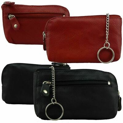 Genuine Leather Multi Colours Men Women Large Zippered Wallet Coin Purse Key Rin