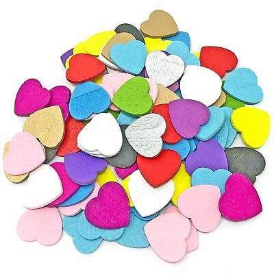 18mm Love Hearts Wooden Shabby Chic Craft Scrapbook Vintage Coloured Hearts