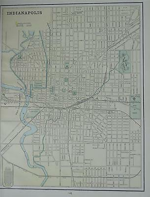 1891 Indianapolis, In. Antique Color Atlas Map** Louisville on back 120 yrs-old!
