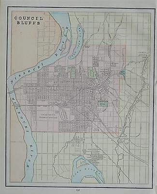 1891 Council Bluffs Color Atlas map** Omaha, Nebraska map on Back.. 129 Yrs-old