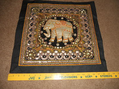 """Kalaga Tapestry ELEPHANT Thailand Beads & Sequins 19"""" Square Beautiful #H"""
