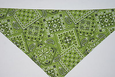 Dog Bandana, OVER THE COLLAR,clothes, pet, Size S,M,L,XL, Green Traditional!