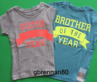 ~NEW~ BROTHER SISTER of the YEAR Big Little Shirt 2T 3T 4T 5T 4 5 Kids Boy Girl