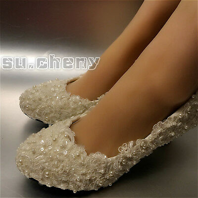 Flats/4cm/7cm heel Ivory / white pearl lace Wedding shoes Bridal pumps size 5-12