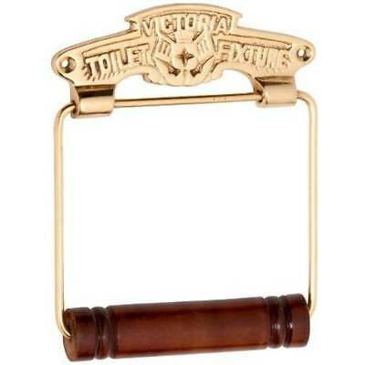 "Toilet Roll Holder ""Victoria"" - Solid Brass - Wooden Roller - HDLTH4883"