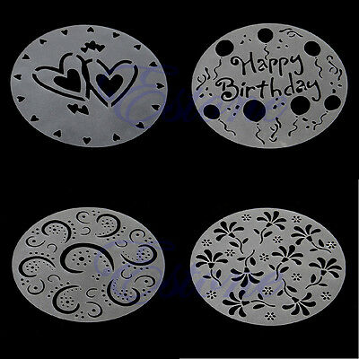 Pack of 4 Variety Cupcake Cake Stencil Template Mold Birthday Spiral Decoration