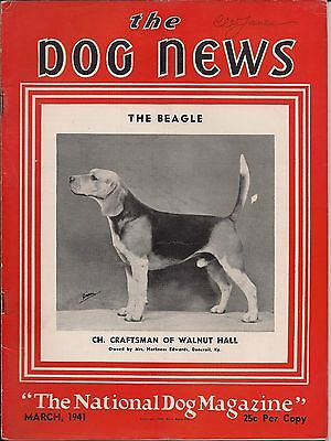 Vintage Dog News Magazine March 1941 Beagle Cover