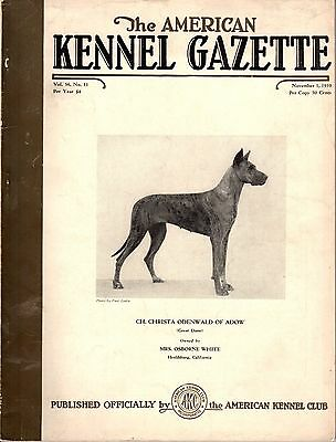 Vintage American Kennel Gazette November 1939 Great Dane Cover