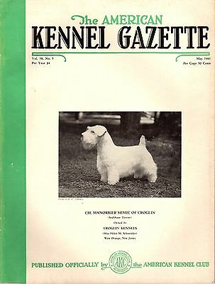 Vintage American Kennel Gazette May 1941 Sealyham Terrier Cover