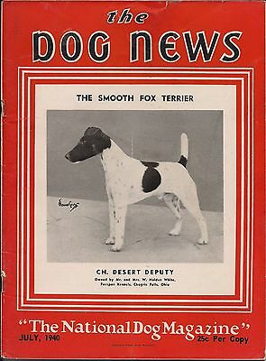 Vintage Dog News Magazine July 1940 Smooth Fox Terrier Cover