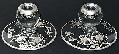 New Martinsville  Silver Overlay Candle Holder (2) * *