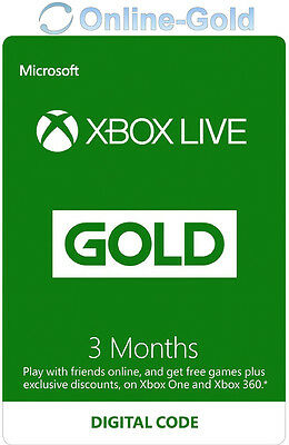 Xbox Live 3 Months Gold Membership Card - Microsoft Subscription Key 360/One UK