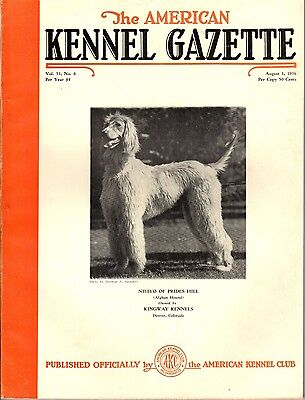 Vintage American Kennel Gazette August 1936 Afghan Hound Cover