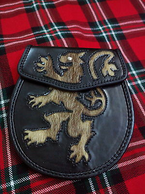 TC Half Dress Kilt Sporran Stitched Lion Rampant Seal Skin Gold /Leather Sporran