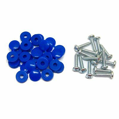 16 x Blue Hinged Cap Number Plate Fitting Fixing Self Tapping Screws