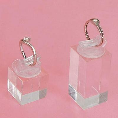 7pcs Acrylic Finger Ring Clip Display Showcase Stand Jewelry Holder w/ Gift Box