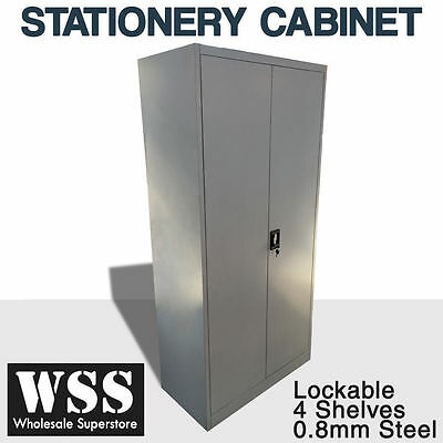 NEW Steel Stationery Cabinet 2 DOOR Cupboard STORAGE lockable 1850H*900W*450Dmm
