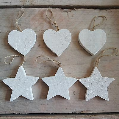 Set of 3 Rustic White Wooden Hanging Hearts Star Wedding Wishing Tree Decoration