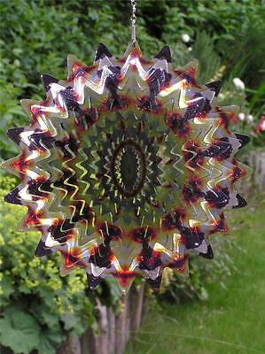 "Iron Stop 6.5""/16cm Designer SUNFIRE SPLASH WIND SPINNER Twister Hook Garden"