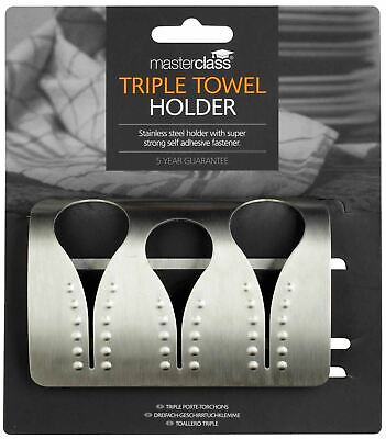 Kitchen Craft Master Class Professional Stainless Steel Triple Towel Rack Holder