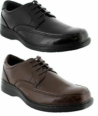 Mens Hush Puppies Torpedo Black Teak Mahogany Leather Extra Wide Work Shoes