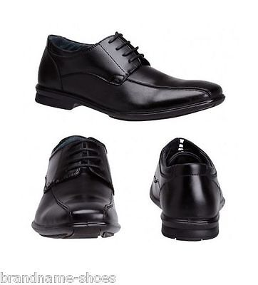 Mens Hush Puppies Carey Black Leather Extra Wide Lace Up Work Formal Men's Shoes