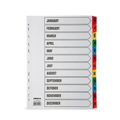 A4 Coloured Tabbed January-December Subject File Index Dividers Month Jan-Dec