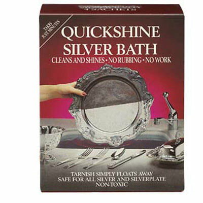 Quickshine Silver Bath - Silverware Silverplate Metal Cleaner - with 4 Sachets