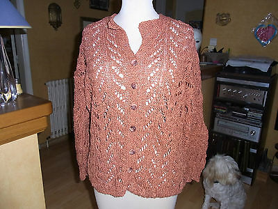 "Vintage Tricote Main Pull Coton Ajoure ""rouille"" T38/40 - Hand Knitted Pullover"
