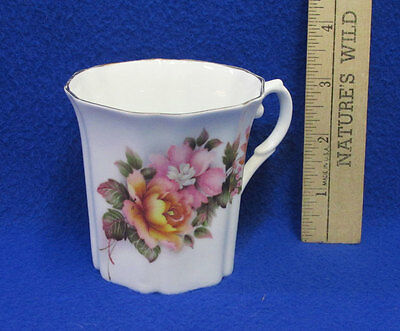 Royal Grafton Fine Bone China England Coffee Mug Cup Floral Flower Pink Orange