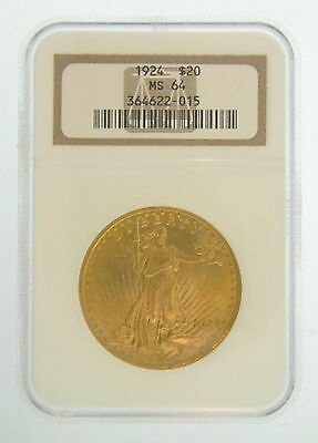 1924 $20 MS-64 NGC Gold Double Eagle Saint Gaudens Coin