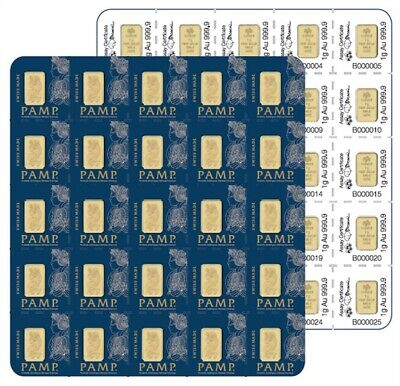 25 X 1 Gram Divisible PAMP Suisse MULTIGRAM Gold Bar