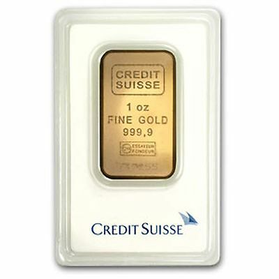 1 oz Credit Suisse Gold Bar .9999 Fine Gold With Assay Cert