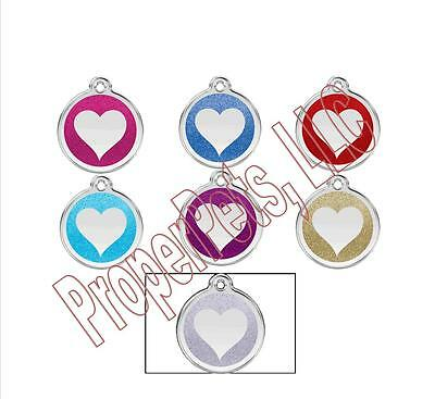 Red Dingo GLITTER HEART Engraved Dog ID Pet Tag/Charm BEST PET TAGS Guaranteed