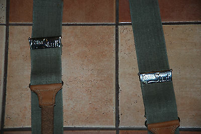 Vintage Extra Stark Suspenders  Braces Mens Military Green Tan Leather