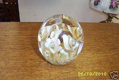 Bob St. Clair Signed Carmel & White Flowers Paperweight