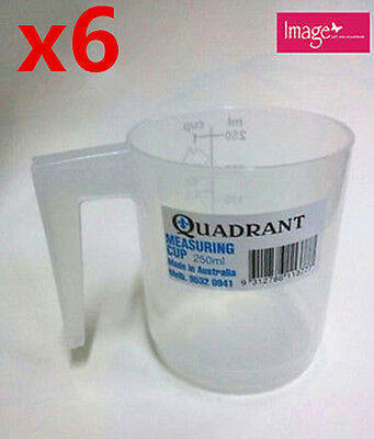 6x Measuring Cup Graduated 250ml Plastic Clear Transparent Jug Quadrant Q113777