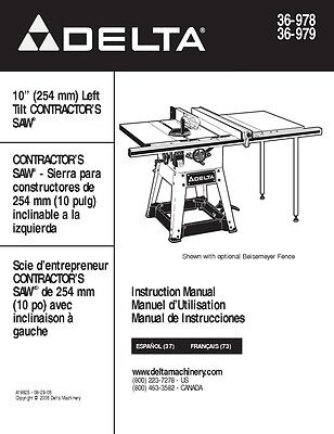 delta 36 550 36 560 10 table saw instruction manual 16 99 picclick rh picclick com Delta 10 Table Saw Delta Shopmaster Table Saw Review