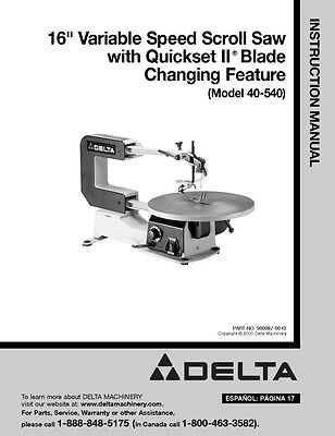 """Delta 40-540 16"""" Variable Speed Scroll Saw Instruction Manual"""