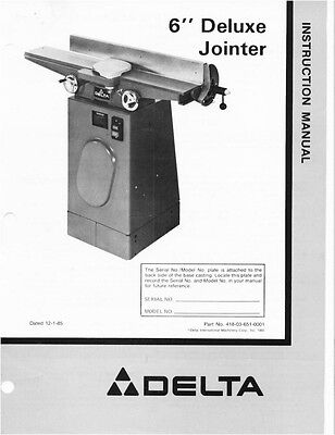 Delta 6 Deluxe Jointer Instruction Manual