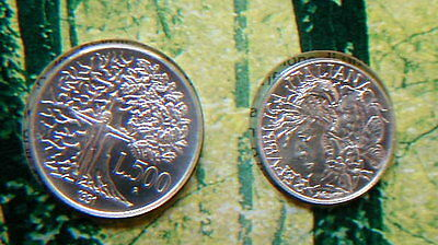 1991 Italy 200£//500£ TWO silver coins  Flora e Fauna Wolf UNC in official folder