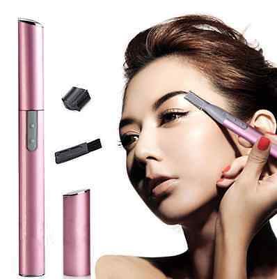 Stylish Womens Face Hair Electric Eyebrow Trimmer Shaver Remover Razor Set Gift