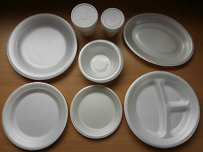 Foam Polystyrene Cups Plates Bowls Disposable Hot Cold Food Drinks Cheap!