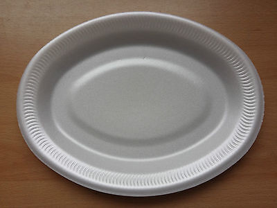 """26cm 10"""" Foam Polystyrene Oval Plates Disposable Hot Cold 10 20 50 100 500 Cheap"""