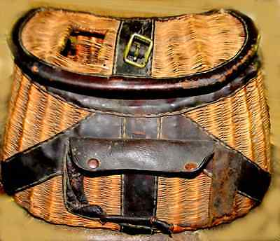 Old West Era Museum Quality Relic Fishing Creel Basket