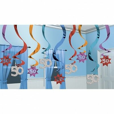 Deluxe 50Th Happy Birthday Party Swirls Hanging Decoration Pack Of 15