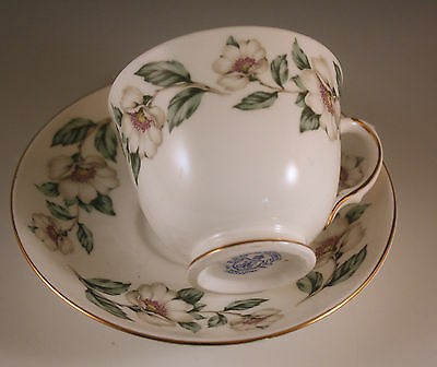 Crown Staffordshire England White Dogwood Cup And Saucer Set Bone China
