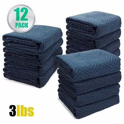 """Professional Pack 12 Moving Blankets Bundle 72x80"""" Quilted Moving Pads packing"""