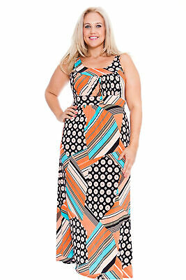 New Womens Maxi Dress Ladies Plus Size Full Length Dress Abstract Print Nouvelle