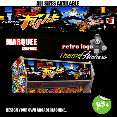 Arcade Marquee Stickers Graphic / Laminated All Sizes Designs Final Fight + More